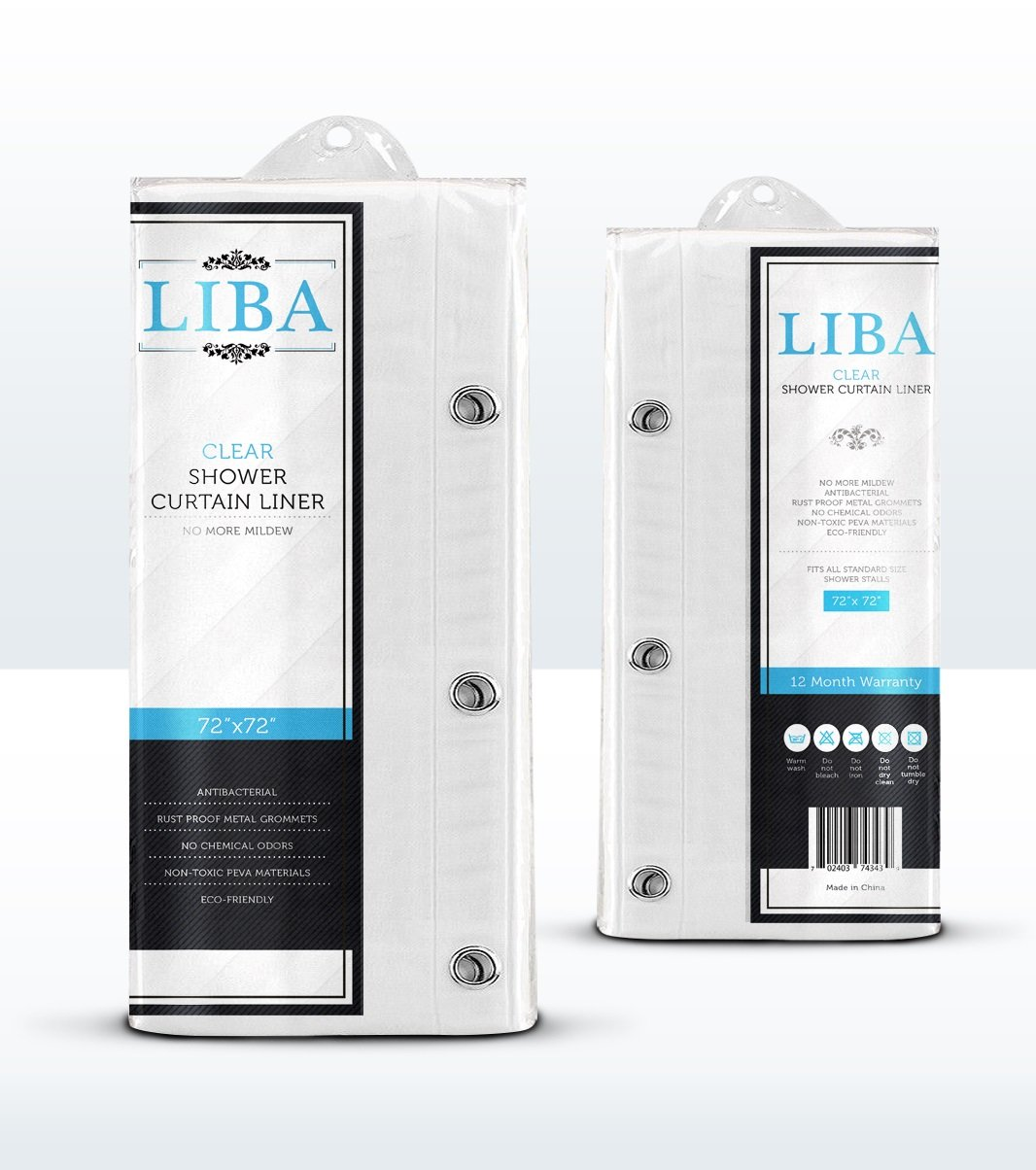 Amazon.com: LiBa Mildew Resistant Anti-Bacterial PEVA 8G Shower ...