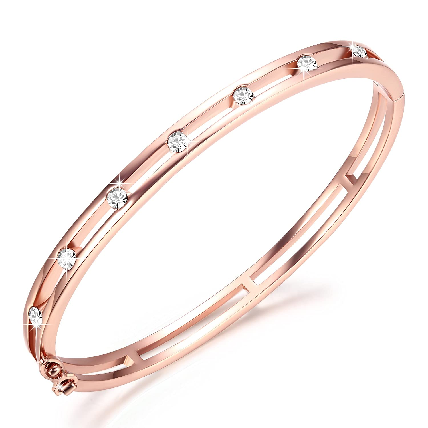 64aa868db Amazon.com: GEORGE · SMITH Women Rose Gold Unleash Charms Crystal Bangle  Bracelet Original Design for Mom Wife-Including a Luxury Jewelry Gift Box:  Jewelry
