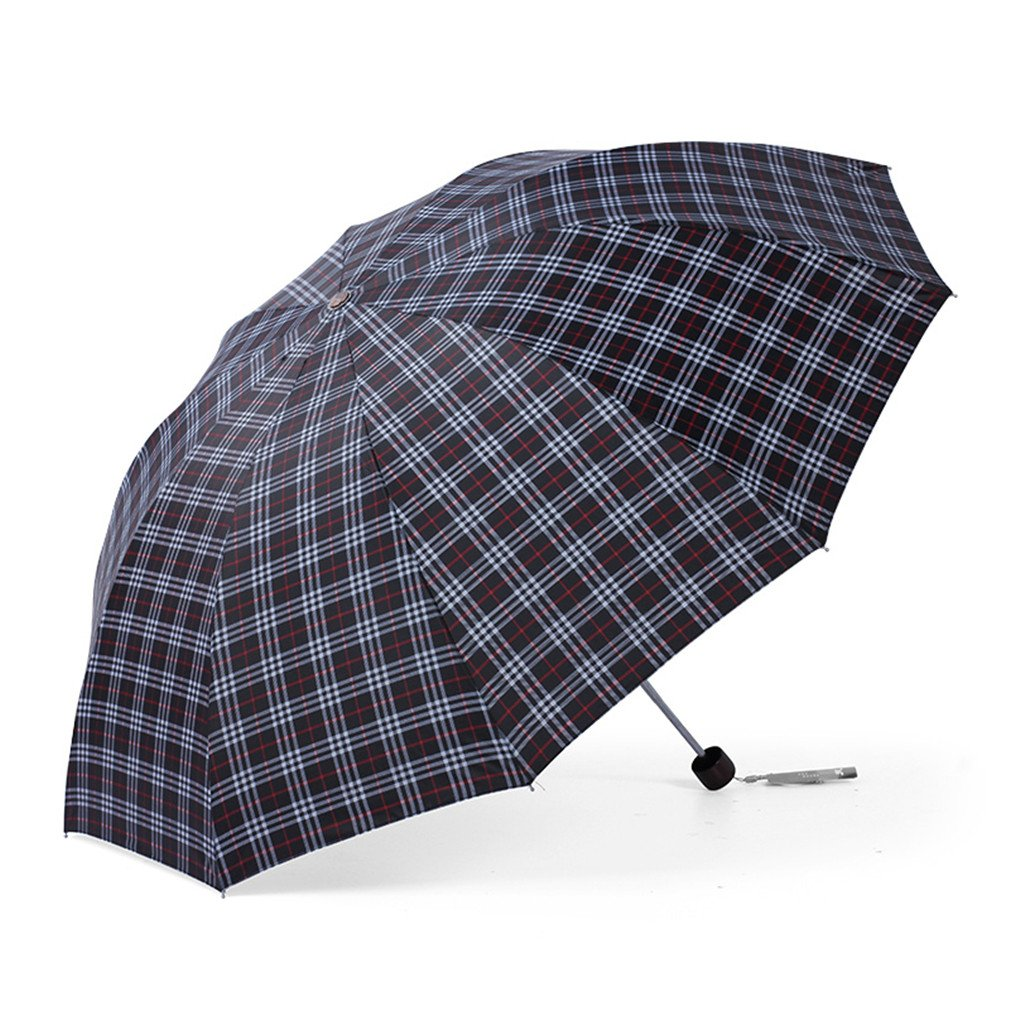Guoke The Grid, Male, Folding Umbrella Very Large Business Umbrella Umbrellas With A Fine Two Umbrellas, Black - Red/White Grid by Guoke (Image #1)