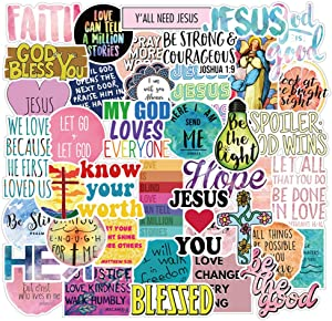 Christian Stickers for Water Bottles (50Pack) Jesus Faith Stickers Pack with Bible Verse Motivational Stickers, Inspirational Vinyl Religious Stickers for Water Bottles
