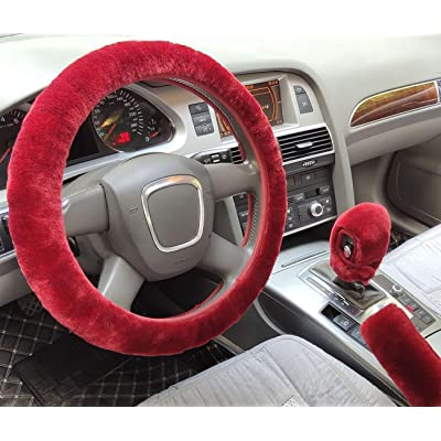 ixiton 3Pcs/Set Fashion Faux Wool Fur Furry Steering Wheel Cover,Short Hair Soft Fluffy Handbrake Cover,Gear Shift Cover,Universal Thickening Fuzzy Warm Non-Slip Auto Interior (Automatic,Wine red): Automotive
