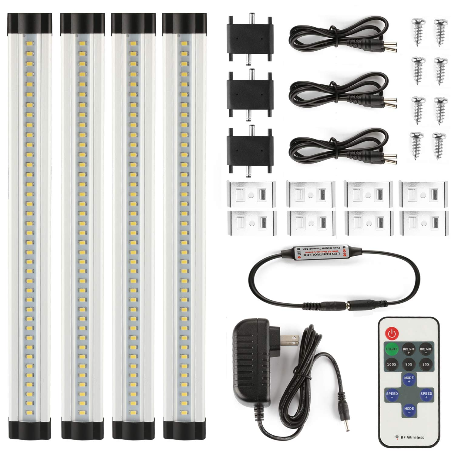 LXG 12in Dimmable LED Under Cabinet Lighting, 12W 5000K Daylight 1000LM, Clear Cover Led Strips,11key Remote Control ,4 Pack by LXG-LED