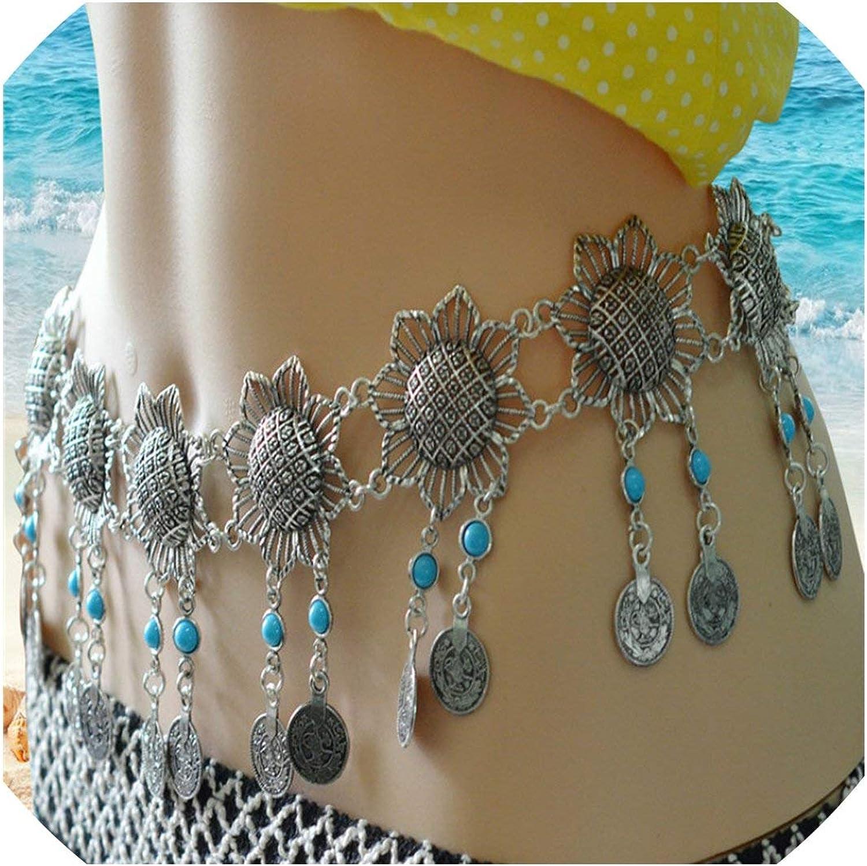 Belly Dancing Costume Hip Scarf Flower Coins Belt Waist Scarf Waist Chain Gypsy Belt Jewelry