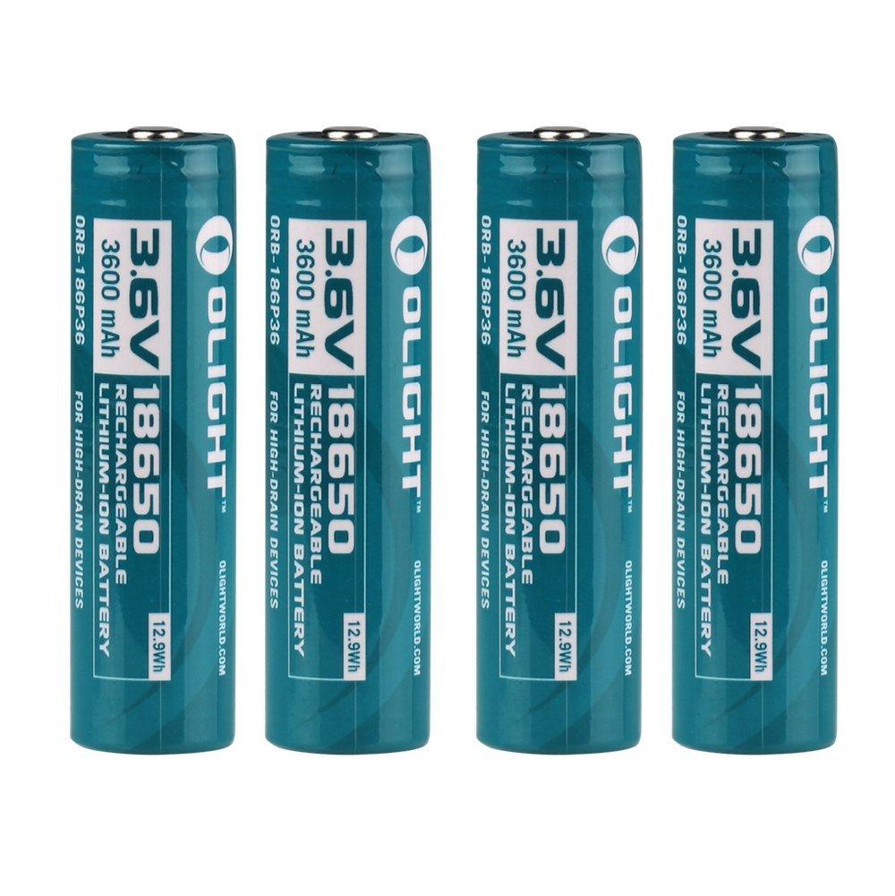 Olight® 18650 3.6V 3600mAh batería recargable Li-ion protegido para la linterna - 4 o 8 Und (Original)