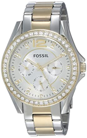 3fe5a3b751e4 Fossil Women s Riley Quartz Two-Tone Stainless Steel Chronograph Watch