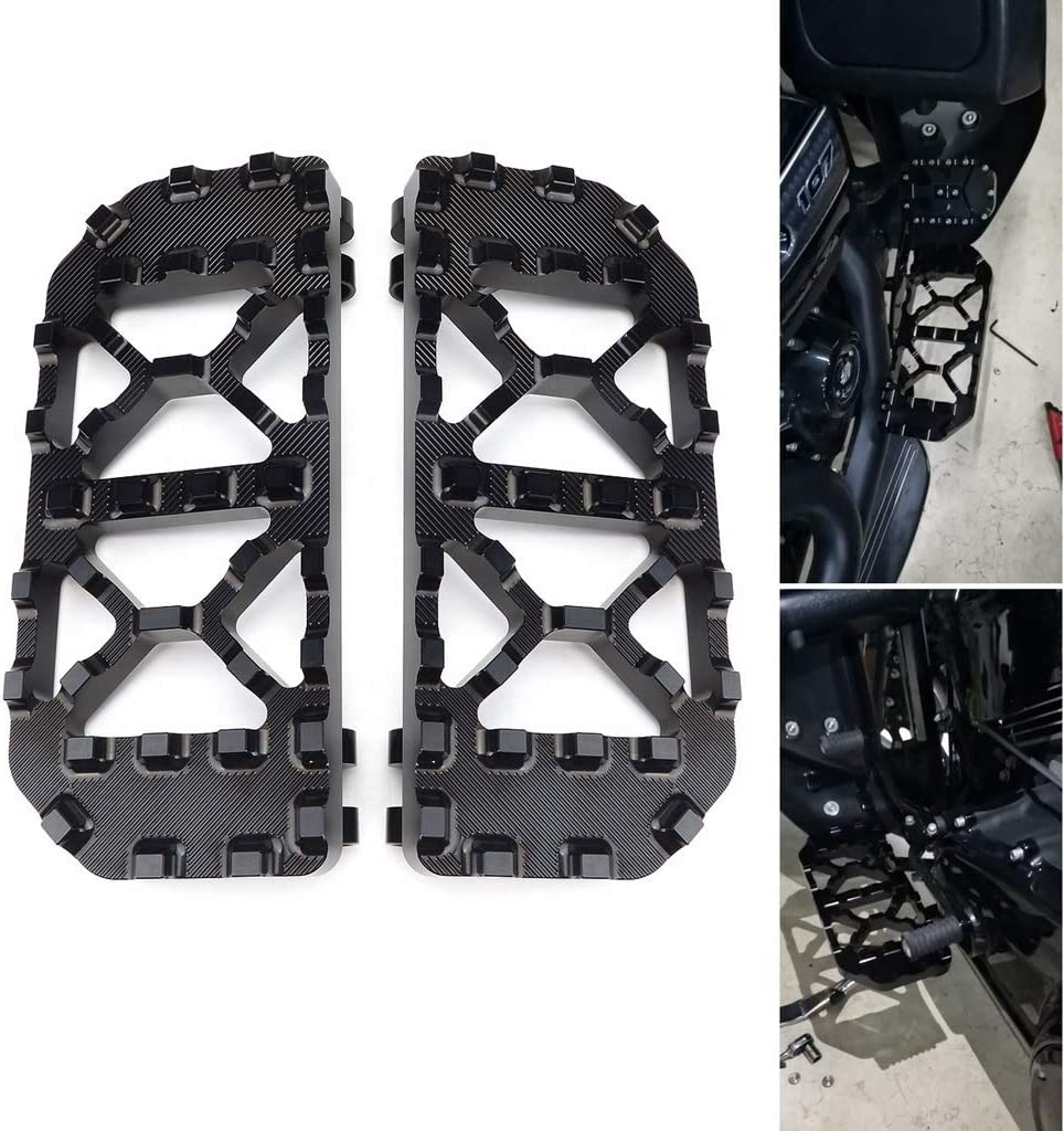Goldfire 1 Pair New Bagger Front Driver Floorboards with Non-Slip Traction for 1983-2020 Harley Touring Motorcycles Black