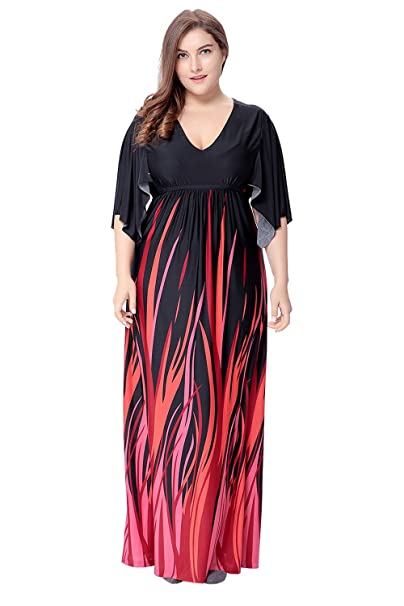BAYA Las Mujeres de Talla Grande Vestido Largo Vestido Informal Mujer Maxi Dress Bohemian Dress Tunic