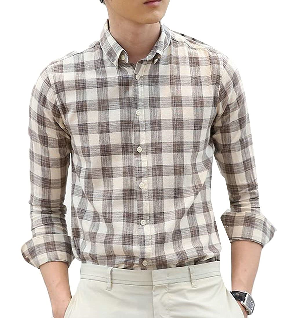 Pandapang Mens Long-Sleeve Plaid Button Down Slim Fit Slim Shirt