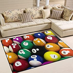 ALAZA Home Decoration Colorful Snooker Billiard Ball Large Rug Floor Carpet Yoga Mat, Modern Area Rug for Children Kid Playroom Bedroom, 5' x 7'