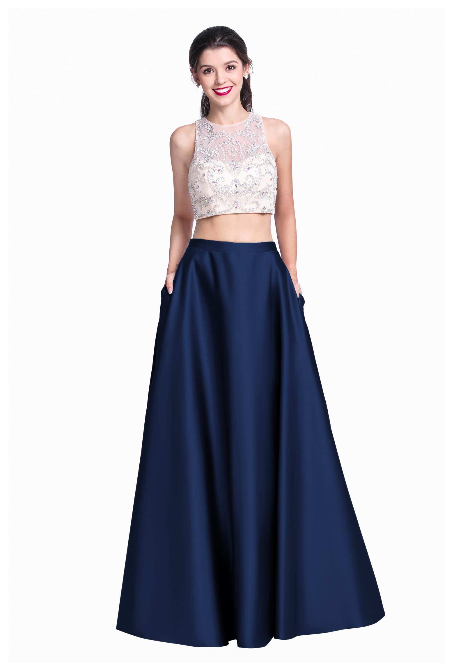 2 Piece Navy Blue Prom Dress: Amazon.com