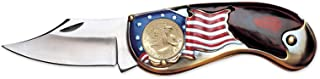 product image for American Flag Coin Pocket Knife with Gold-Layered Bicentennial Quarter| 3-inch Stainless Steel Blade | Genuine United States Coin | Collectible | Certificate of Authenticity