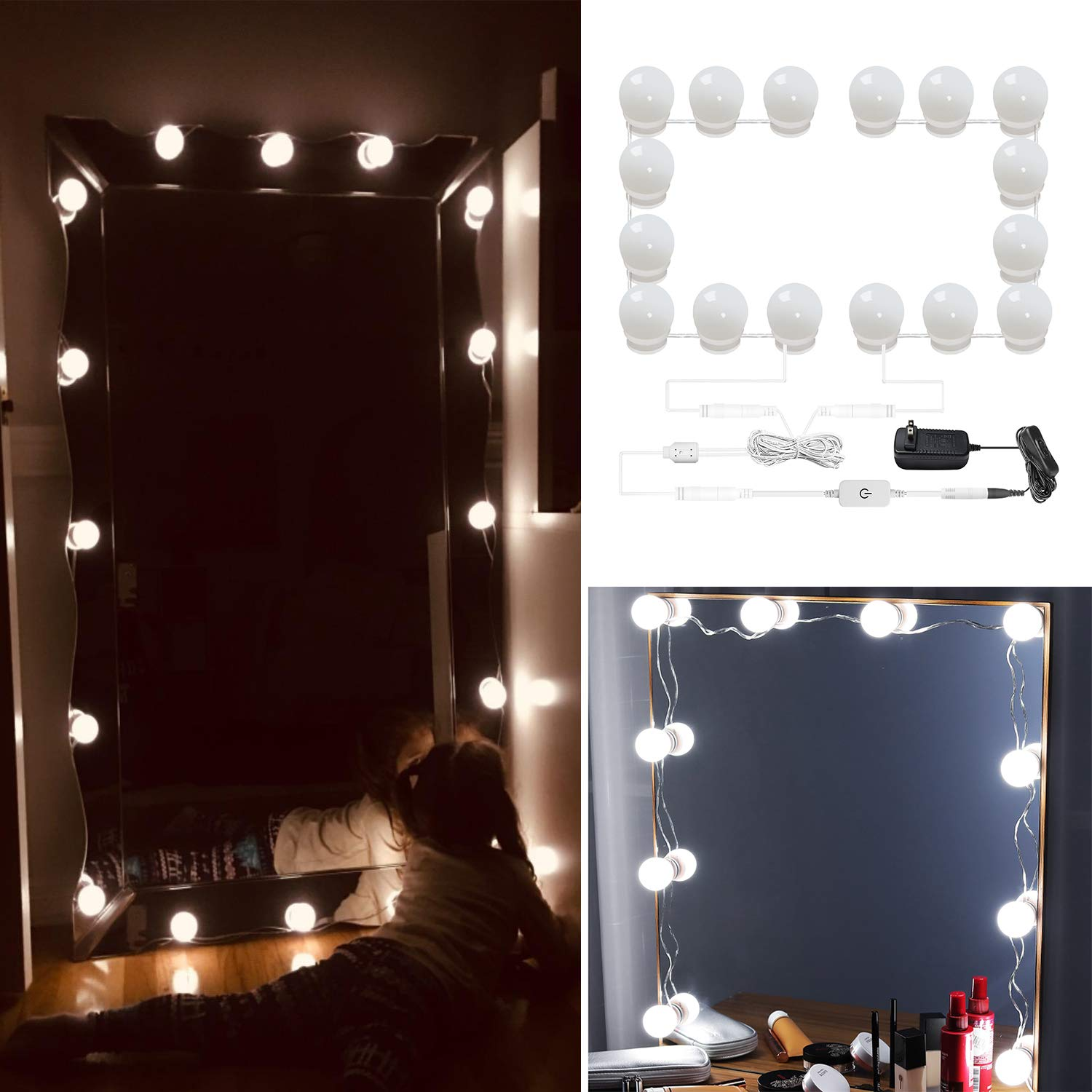 AIBOO Hollywood Style Lighted Vanity Makeup Mirror, LED Vanity Mirror Lights Kit for Dressing Table, Dimmable and Adapter Plug in, Mirror Not Included (16 Bulbs Natural White) by AIBOO (Image #1)