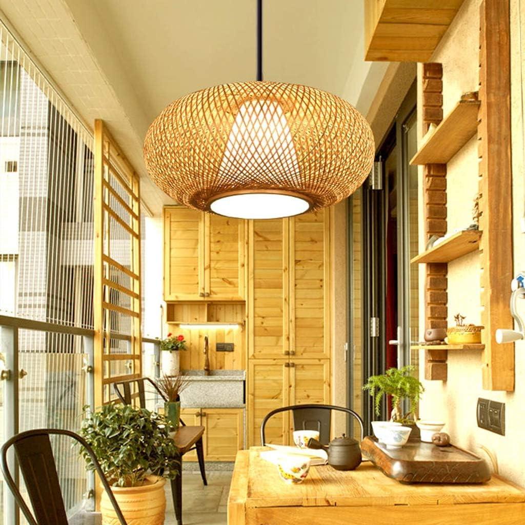 L CattleBie Creative Bamboo Lustre//Restaurant Tea House Lampe//Asie du Sud-Chambre Caf/é Balcon Aisle Corridor Bois Main Treillis rotin Bambou Plafond lumi/ère Chaude Suspension Ronde Abat