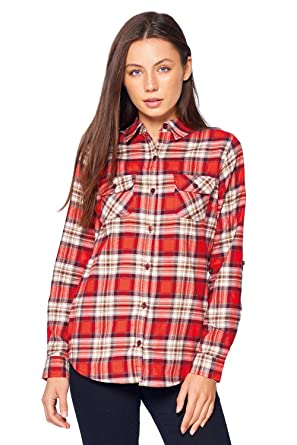 4762c17e7e Blue Age Womens Flannel Plaid Long Sleeve Shirts Blouse (CT0030 NP120 S)