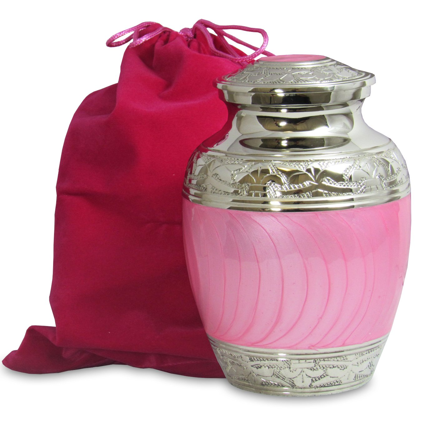Hugs and Kisses Beautiful Light Pink Child's Cremation Urn For Human Ashes - For a Lost Daughter Baby Girl or Pet Dog or Cat - Find Comfort This Small Beautiful High Quality Urn - w Velvet Bag