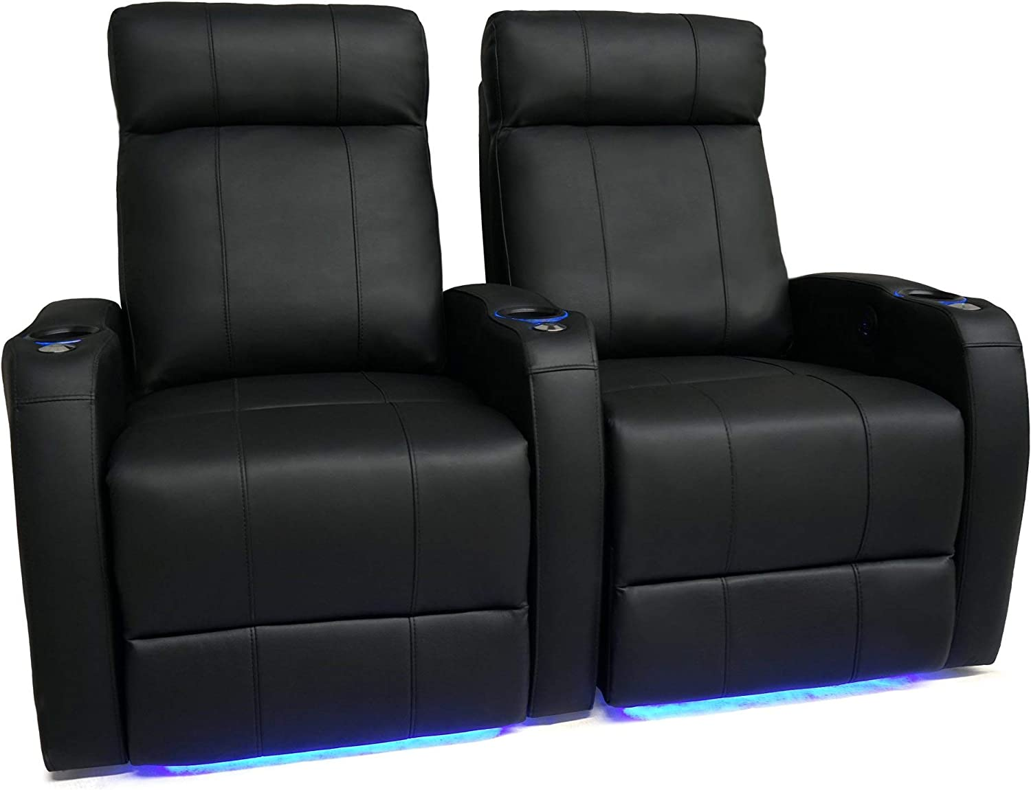 Amazon Com Valencia Syracuse Home Theater Seating Premium Top Grain 9000 Leather Power Recliner Led Lighting Row Of 2 Kitchen Dining