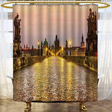 Anhounine Landscape Shower Curtain Collection By Charles Bridge Old Town Prague Czech Republic With Classic Medieval