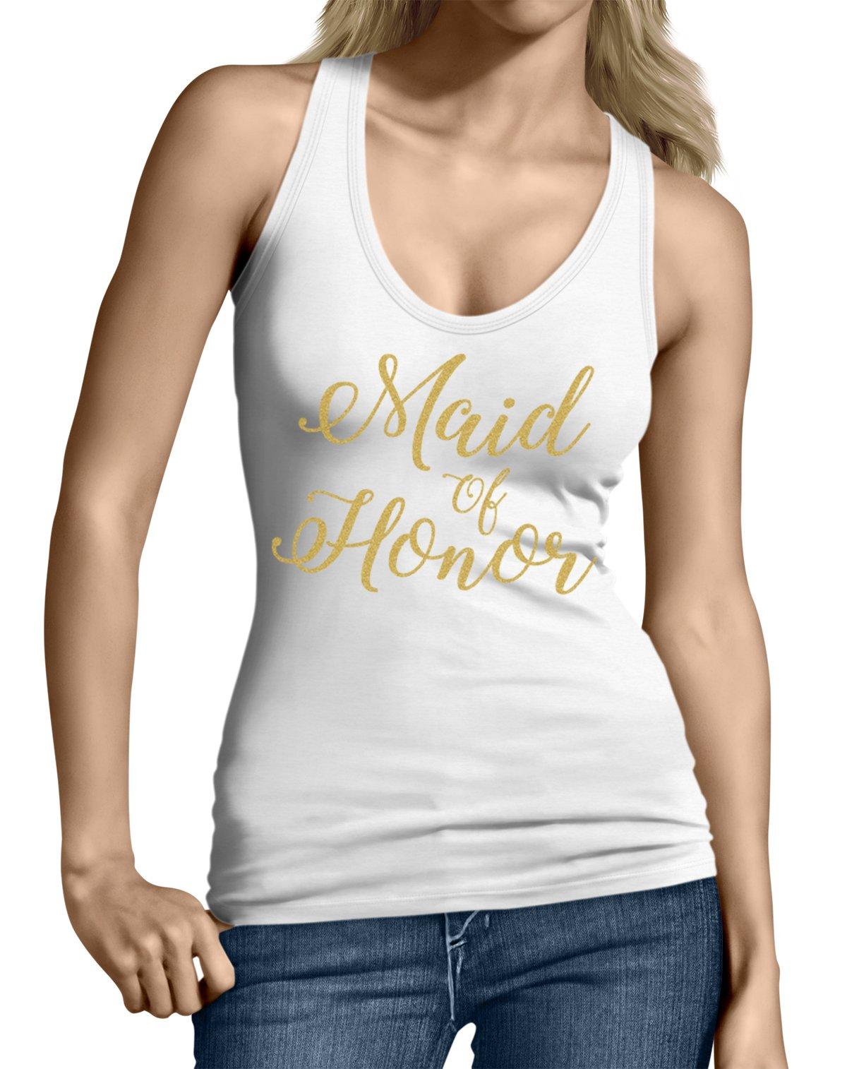 Spiritforged Apparel Maid Of Honor Gold Glitter Junior's Shirts