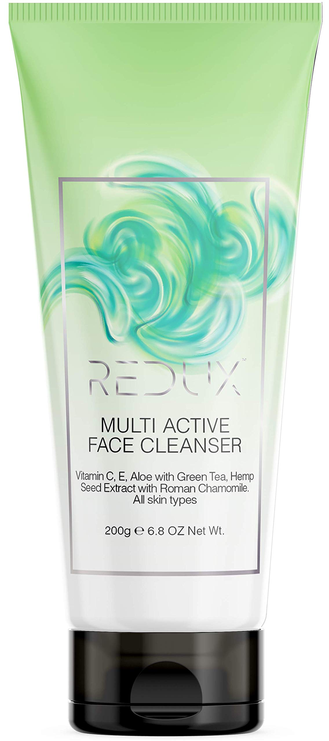 Redux Face Cleanser with Vitamin C, E, Aloe, Green Tea, Hemp Seed Extract & Roman Chamomile - Clear Pores on Oily, Dry & Sensitive Skin with Organic & Natural Ingredients - Sensitive Skin Safe 6.7 oz