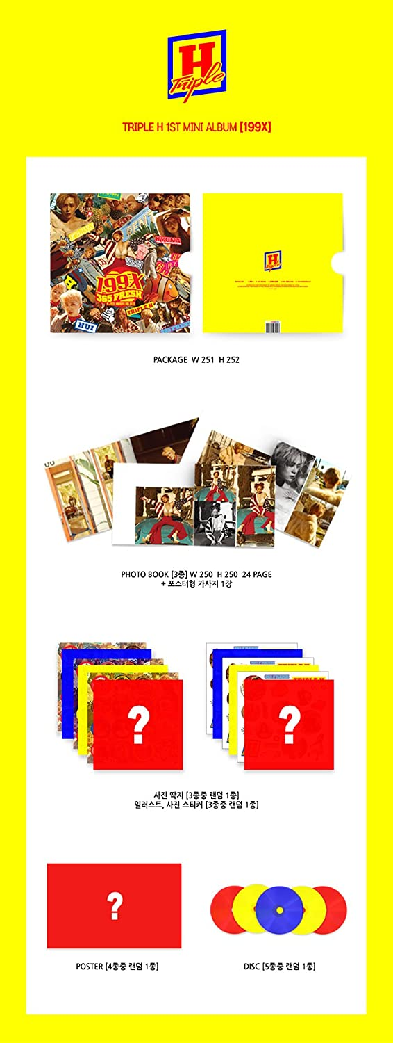 Triple H Triple H 199x 1st Mini Album Cd 3ea Photobook Photo Paper Illust Photo Sticker Lyrics Sealed Music