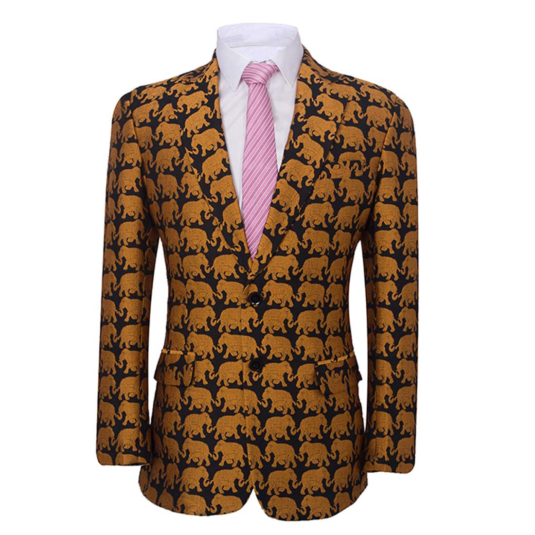 Abruzzomaster Animal Print Suit Blazers Groom Tuxedos Print Jacket for Groomsman Suit Gold Blazer Man Suit