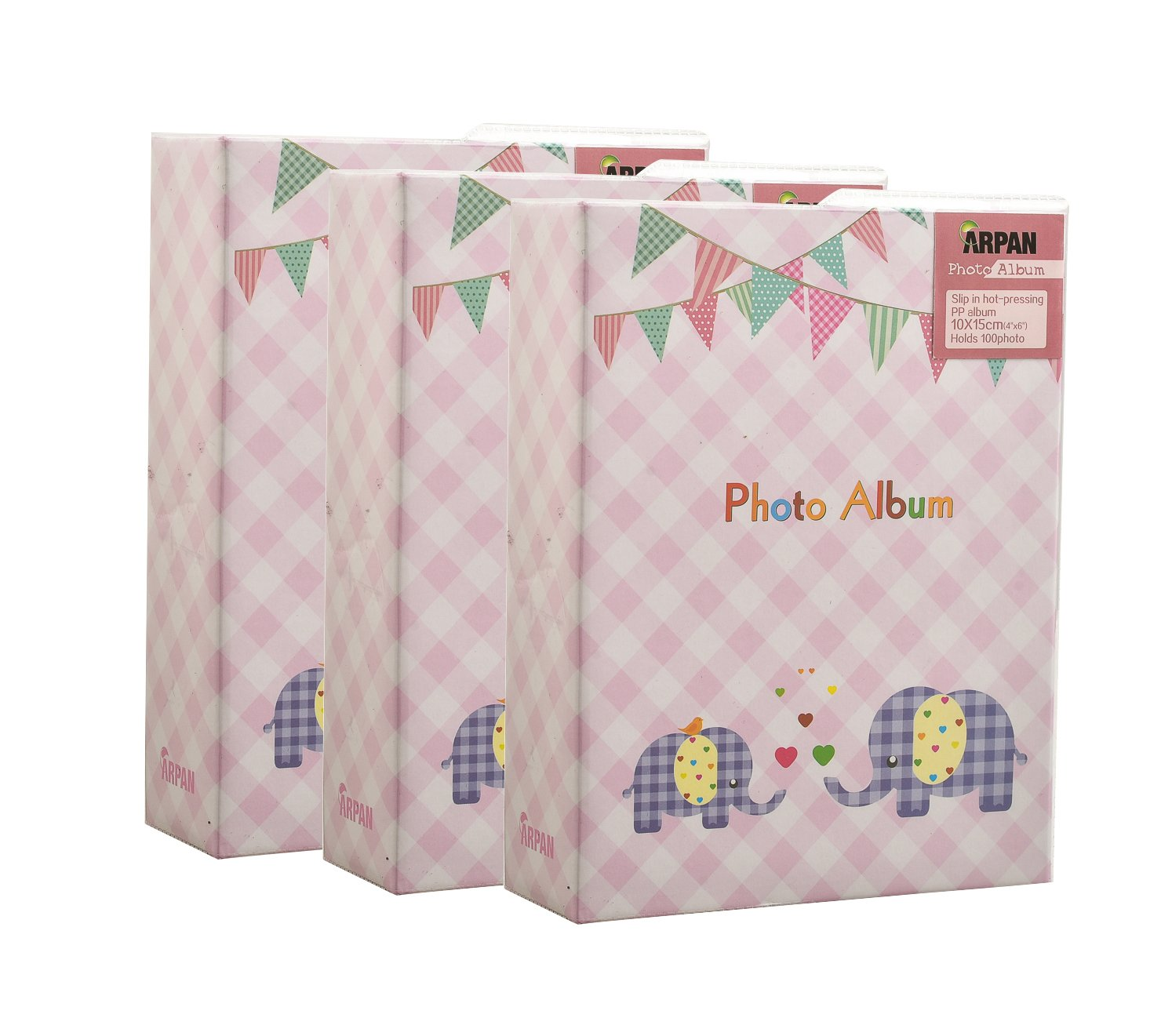 3 x Arpan 6x4'' Small Pink Baby Girl Slip In Photo Album For 100 Photos- Elephant Kids -Ideal Gift BA-9777-X3