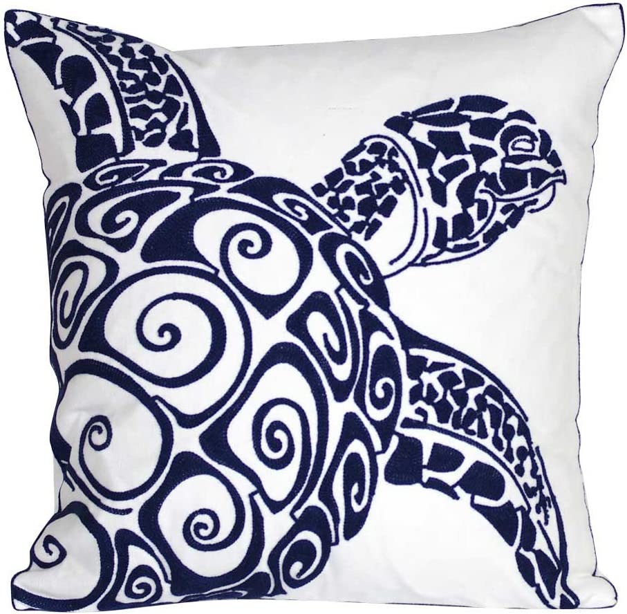 DECOPOW Embroidered Cute Nautical Animal Pillow Covers,Square 18 Inches Decorative Canvas Pillow Cover for Nautical Style Deco by (Navy-Sea Turtle)