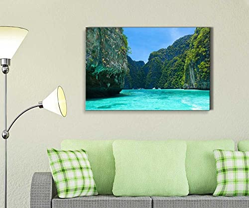 Beautiful Scenery Landscape Cliff and The Clear Sea Phi Phi Leh South of Thailand Wood Framed