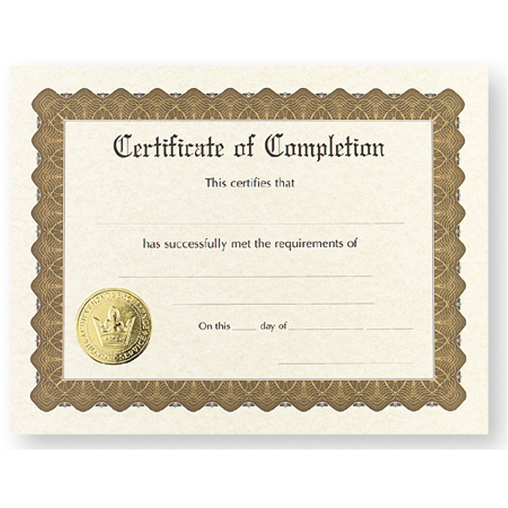 Certificate of Completion - Pack of 48