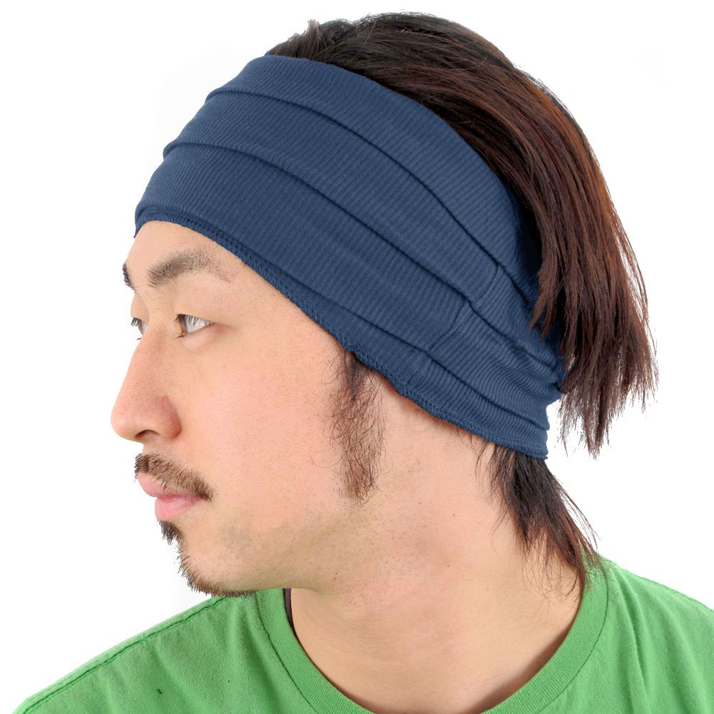 Casualbox mens Japanese Fashion Elastic Headband Sports Outdoor Type Black