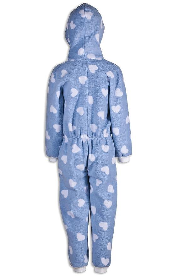 Pijama de una pieza para niña - Estampado de corazones blancos - Azul: Amazon.es: Ropa y accesorios