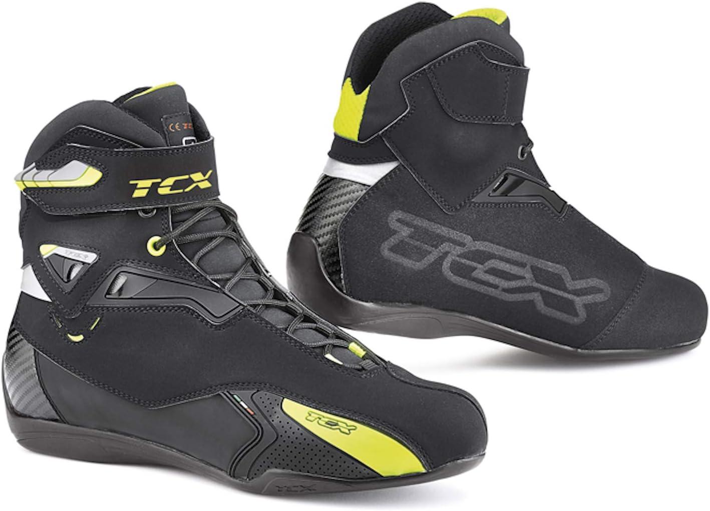 TCX Scarpe Stivali Moto 9505W Rush Waterproof Nero Giallo Fluo tg 41//8