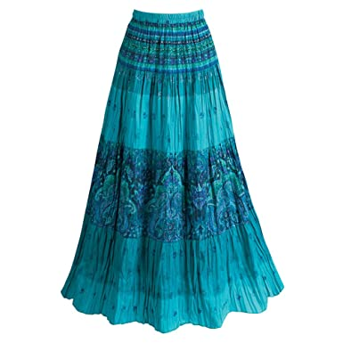 3f232c48af7 Women s Long Peasant Skirt - Tiered Broom Style In Caribbean Blues - 2X