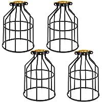Vintage klatka metalowa abażur lampy, kohree 4-pak styl retro czarny metalowy kosz klatka sufit wisiorek abażur do…