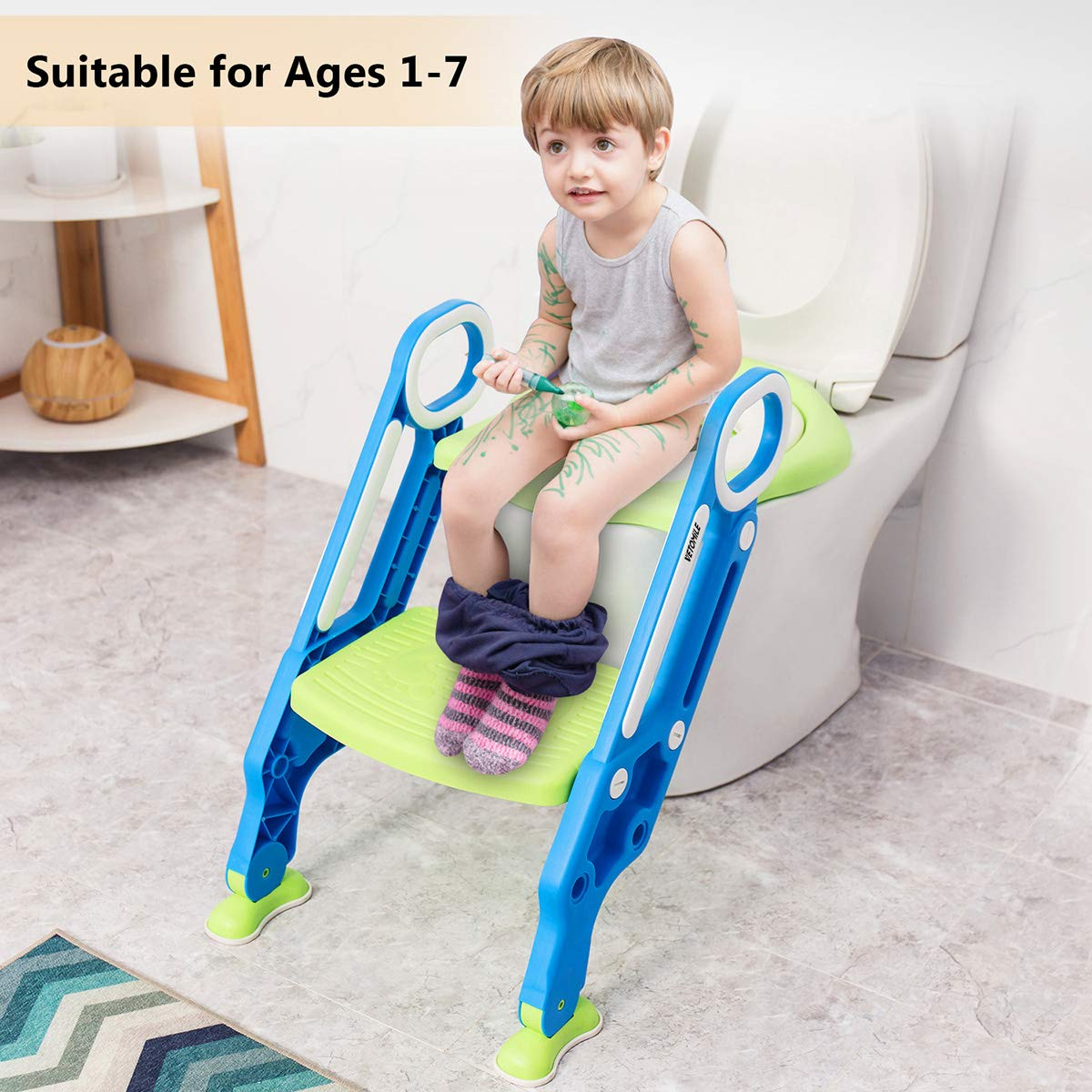 VETOMILE Baby Potty Toilet Trainer Seat for Children Kids Toddles with Adjustable Sturdy Non-Slip Step Stool Ladder and 2 PU Leather Replaceable Soft Padding Suitable for O V U Shaped-Toilets by VETOMILE (Image #3)