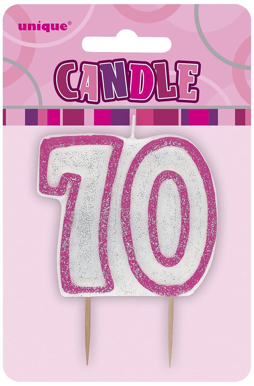 Color rosa brillante Unique Party Vela de 70 cumplea/ños 34408