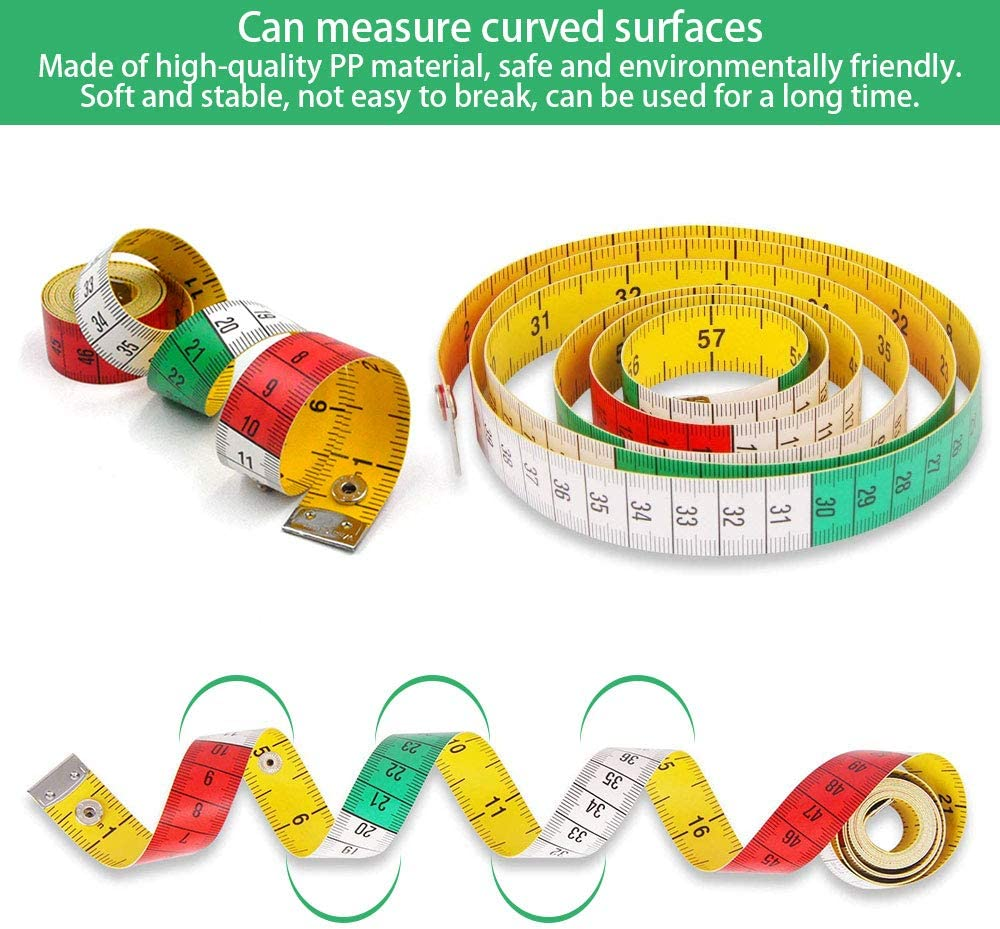 Dual Sided Body Measuring Ruler Sewing Cloth Tailor Tape Soft Tape for Family Measure Chest//Waist Circumference White 60inch//150cm