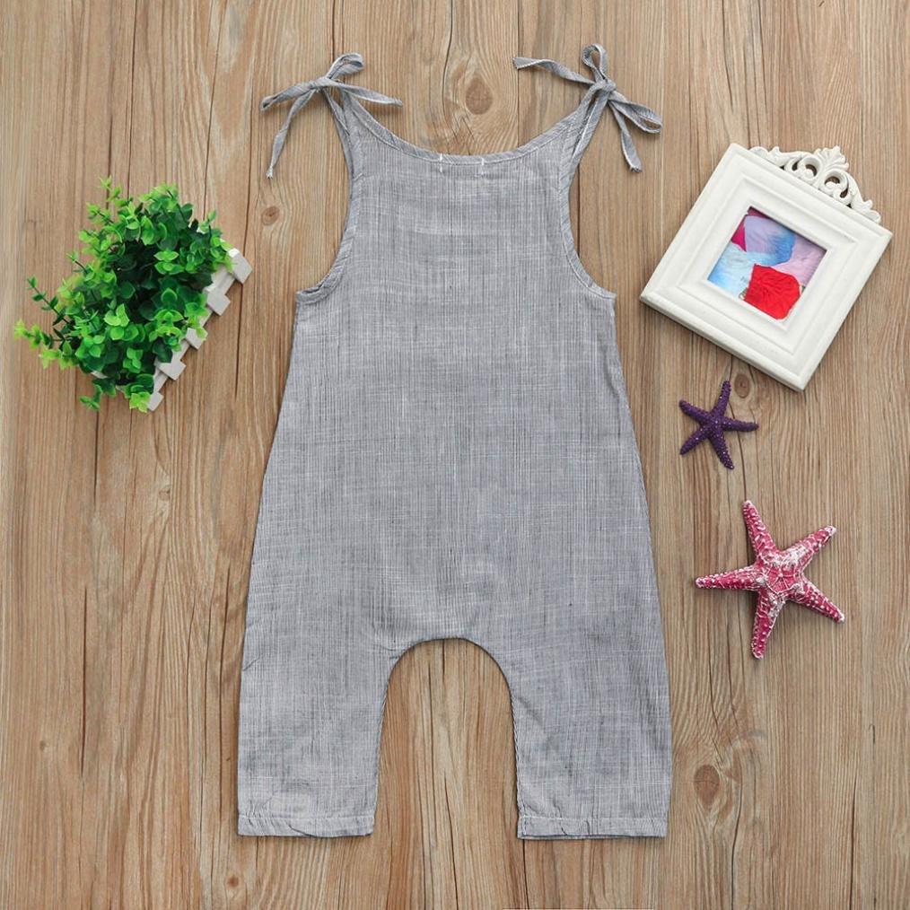 Style/_Dress Baby Kleidung Set Neugeborene Jungen M/ädchen Flachs /Ärmellos Sommer Strampler Hosentr/äger-Overall Tops Romper Outfits Spielanzug Set