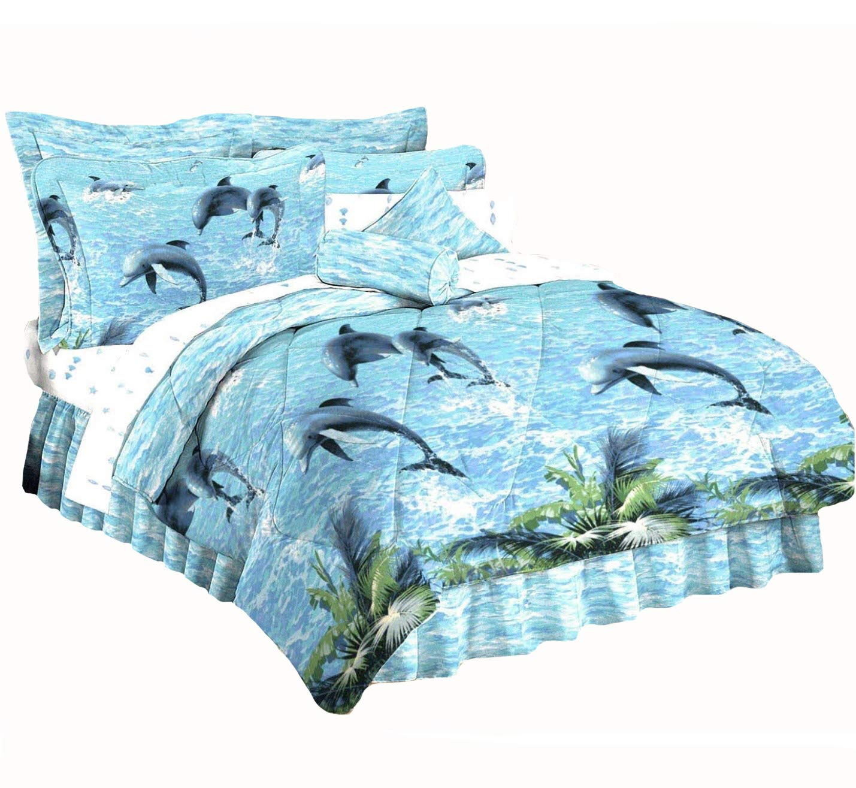 DOLPHINS''Water Dance'' Coastal Sea Life w/Tropical Palm Leaves 4pc KING SIZE Blue COMFORTER (101'' x86''), 2-K-SHAMS & BEDSKIRT