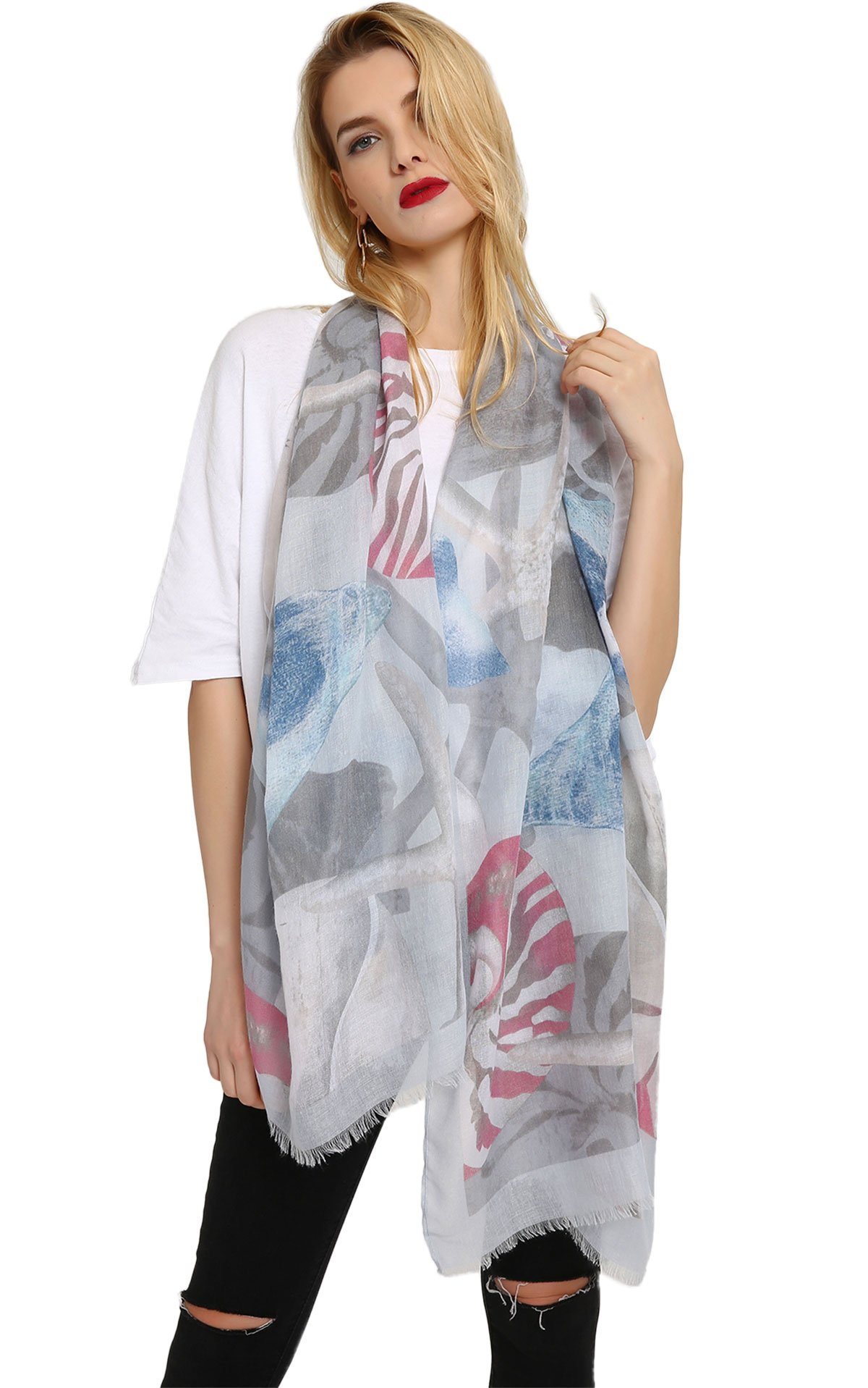 Vibrant Patterned Scarf Shawl Summer Thin Cotton Beach Cover Wrap Grey