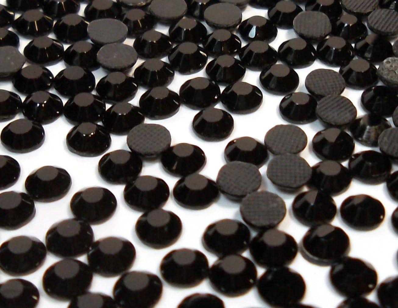 Perlin - Piedras de estrás negras para fijar en caliente, 4 mm, 5760 unidades, calidad AAA SS16, 40 tamaños, para planchar, pegamento caliente, piedras brillantes