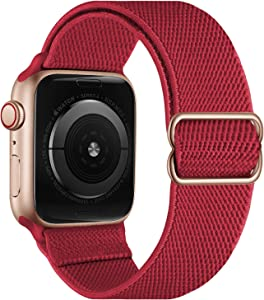 OXWALLEN Stretchy Nylon Solo Loop Compatible with XL Apple Watch Bands 42mm 44mm, Adjustable Elastic Braided Stretches Sport Women Men Strap for iWatch SE Series 6/5/4/3/2/1,Burgundy Red