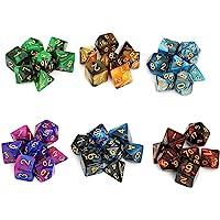 Moncolis 6 x 7 (42 stuks) Polyedrische dobbelstenen set met zakje dubbele kleuren polyedrische speelkubus voor Dungeons…