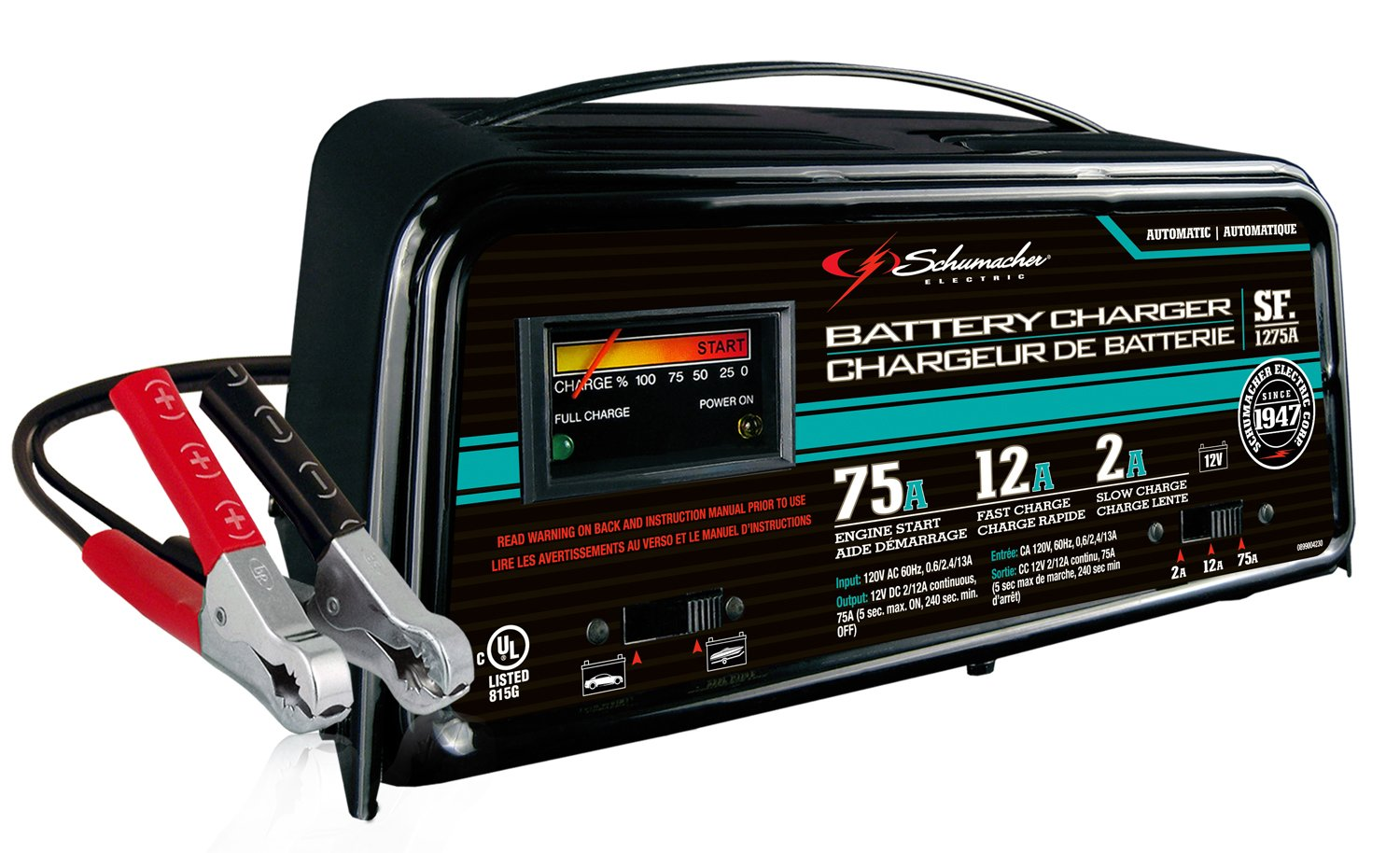 Amazon.com: Schumacher SF-1275A 2/12/75A 12V Automatic Handheld Battery  Charger: Automotive
