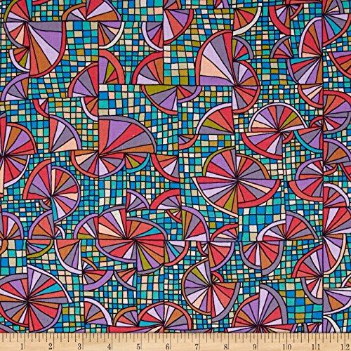 FreeSpirit Fabrics Kathy Doughty Folk Art Revolution Wagon Wheels Fabric by The Yard Contemporary