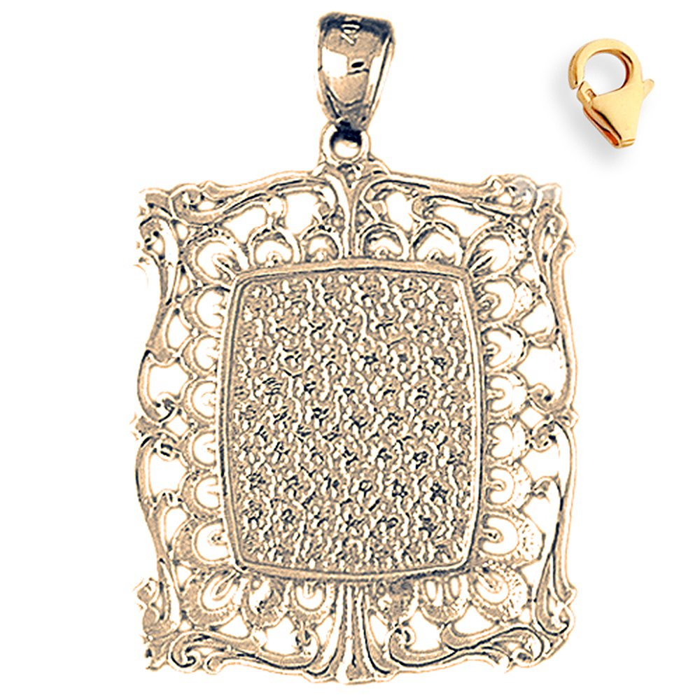 40mm Silver Yellow Plated Handcut Frame Plate Charm