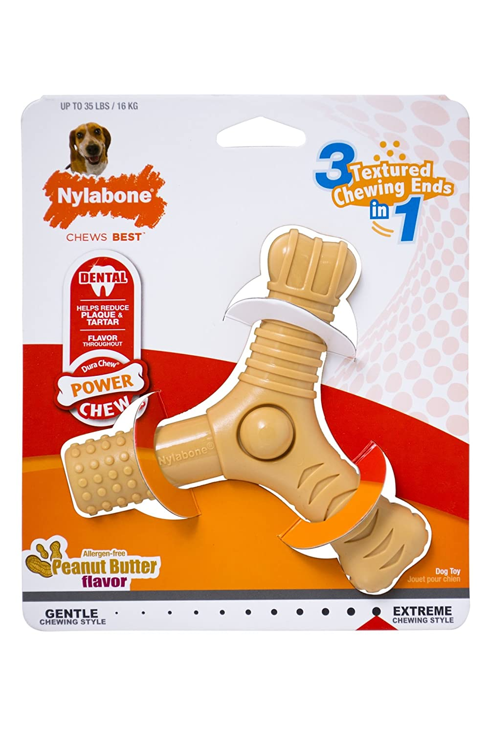 Nylabone Power Chew Dura Chew 3-Prong Dog Chew Toy, Peanut Butter Dog Toy, Medium