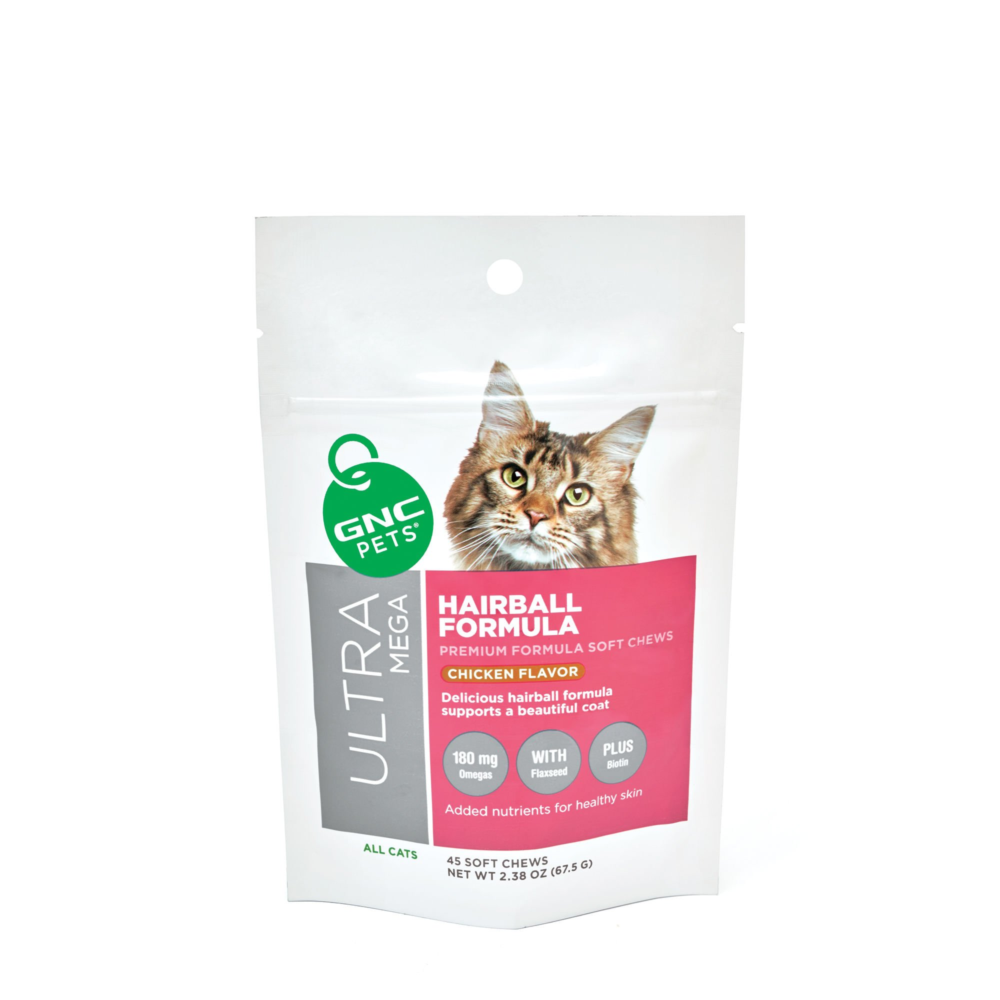 GNC Pets Ultra Mega Hairball Formula for All Cats, Chicken Flavor- 45 Soft Chews