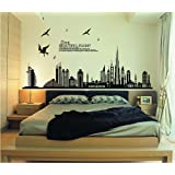 ufengke Black City Silhouette Cityscape Skyscraper Wall Decals, Living Room Bedroom Removable Wall Stickers Murals