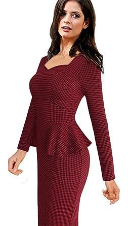 COCO clothing Retro Damen Kleid Rot Plaid Schößchen Bleistiftkleid Langarm  Karree-Ausschnitt Knielange Business Feierliche
